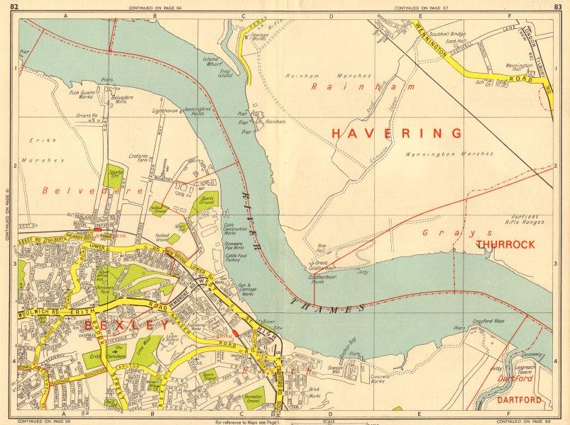 Associate Product ERITH Belvedere Rainham Marshes Wennington. GEOGRAPHERS' A-Z 1964 old map