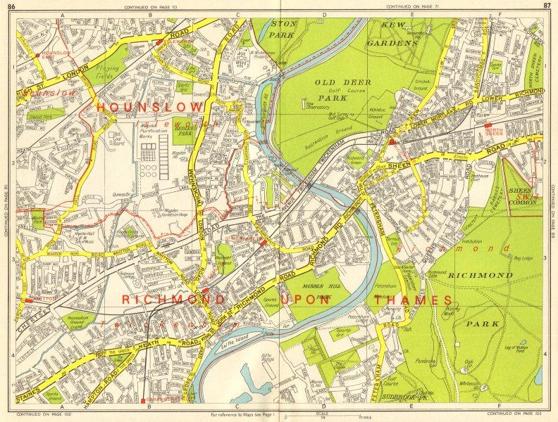 RICHMOND ISLEWORTH TWICKENHAM North Sheen Hounslow. GEOGRAPHERS' A-Z 1964 map
