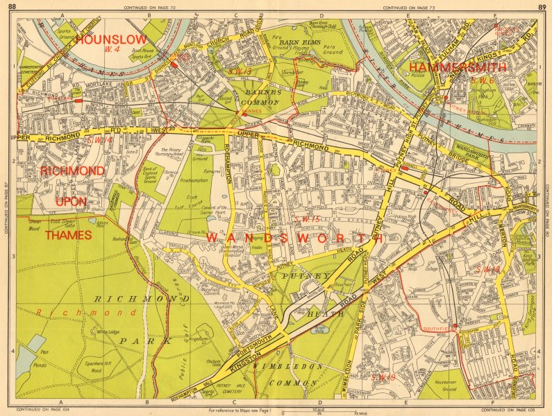 Associate Product PUTNEY Wandsworth Barnes Mortlake Parsons Green. GEOGRAPHERS' A-Z 1964 old map