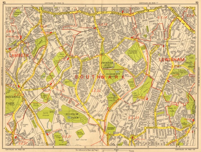 Associate Product SOUTHWARK Brixton Dulwich Peckham Honor Catford. GEOGRAPHERS' A-Z 1964 old map