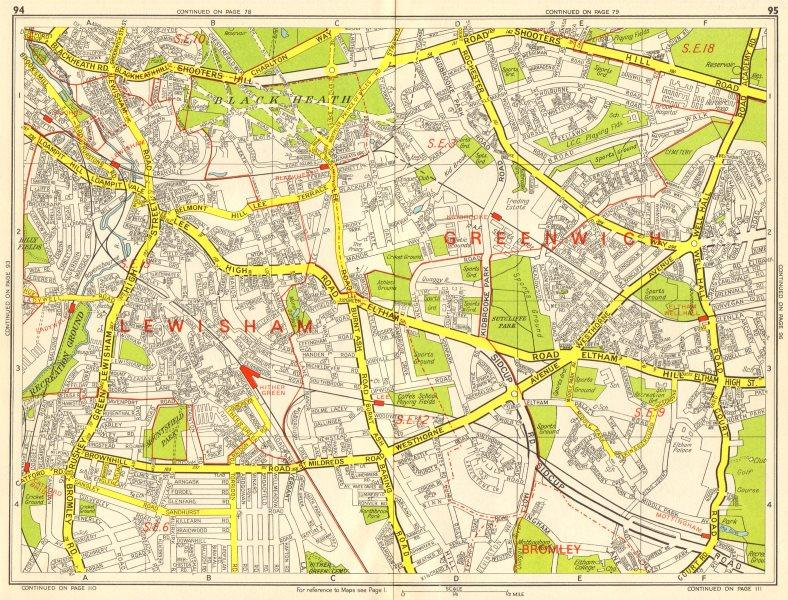Associate Product LEWISHAM Catford Eltham Blackheath Kidbrooke Ladywell. GEOGRAPHERS' A-Z 1964 map