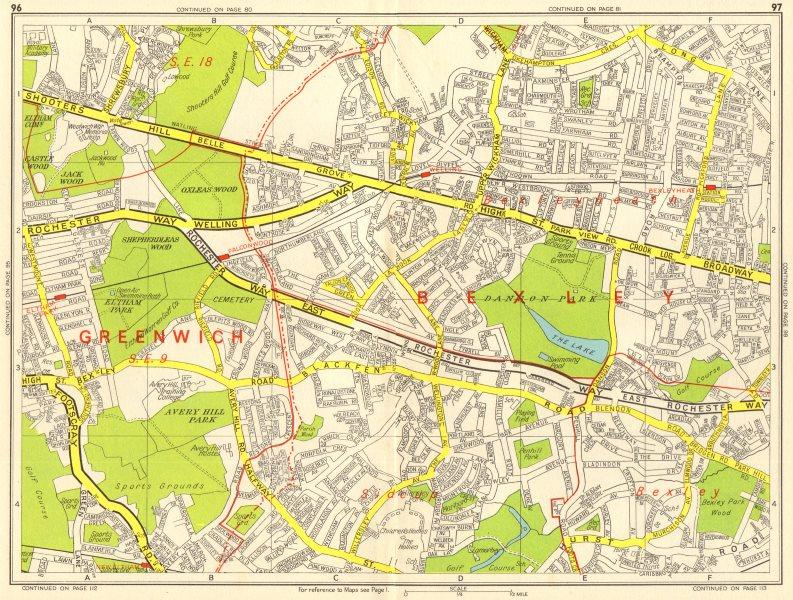 Associate Product BEXLEY Bexleyheath Eltham East Wickham Shooters Hill. GEOGRAPHERS' A-Z 1964 map