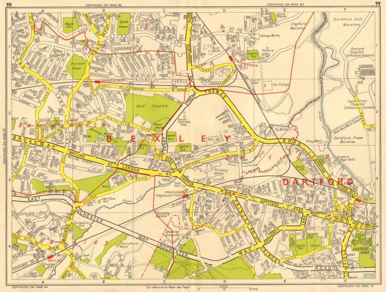 Associate Product DARTFORD Crayford Bexleyheath Erith Slade Green. GEOGRAPHERS' A-Z 1964 old map
