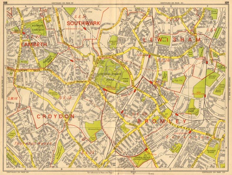 Associate Product PENGE SE19 SE20 SE26 Norwood Sydenham Anerley. GEOGRAPHERS' A-Z 1964 old map