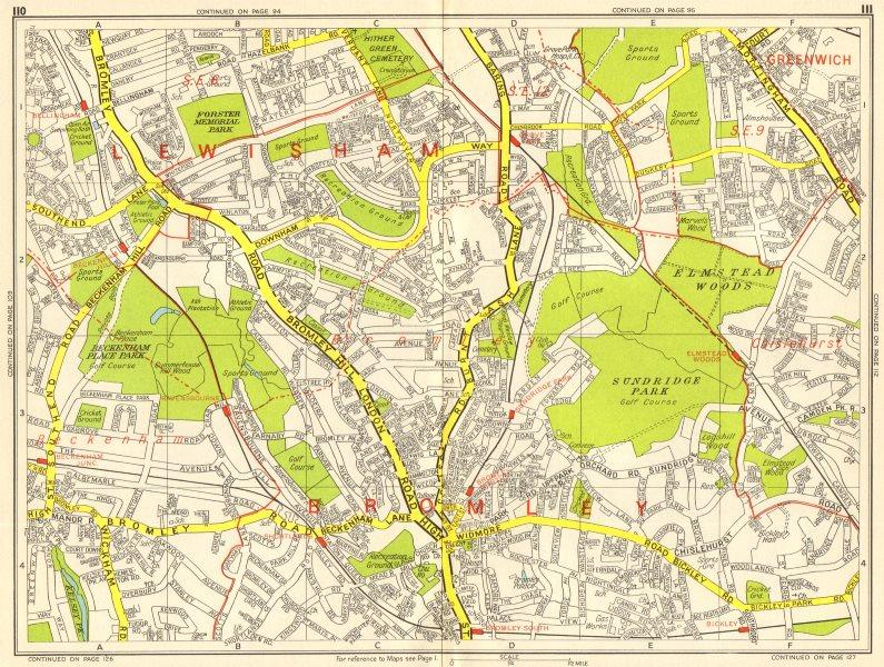 Associate Product BECKENHAM BROMLEY CATFORD Grove Park Bellingham Bickley GEOGRAPHERS A-Z 1964 map