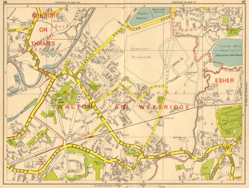Associate Product WALTON-ON-THAMES Shepperton Sunbury Esher East Molesey. GEOGRAPHERS A-Z 1964 map