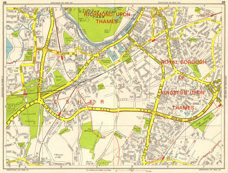 Associate Product SURBITON Esher Thames Ditton Chessington Tolworth. GEOGRAPHERS' A-Z 1964 map