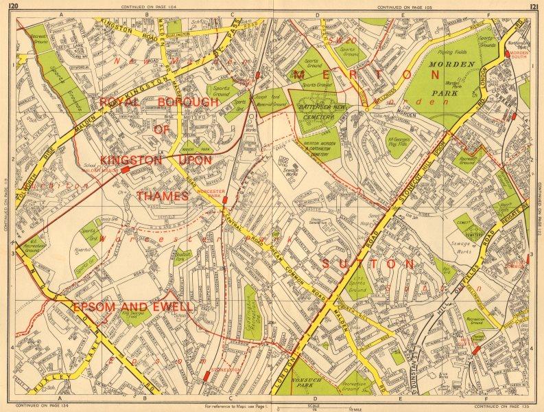 Associate Product WORCESTER PARK Morden Sutton New Malden Ewell. GEOGRAPHERS' A-Z 1964 old map
