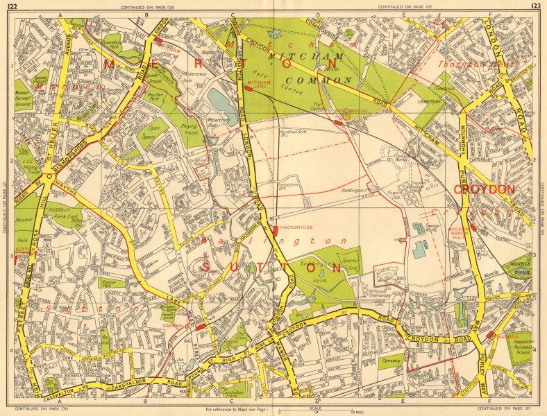 Associate Product SUTTON Carshalton Morden Mitcham Common Croydon. GEOGRAPHERS' A-Z 1964 old map