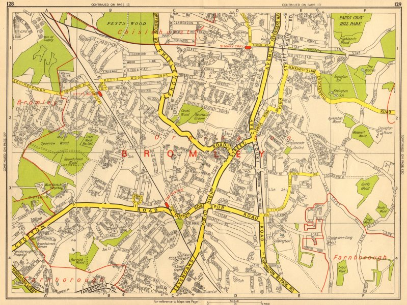 Associate Product ORPINGTON Bromley Pett's Wood St Mary Cray. GEOGRAPHERS' A-Z 1964 old map