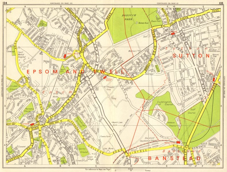 Associate Product EPSOM & EWELL Cheam Belmont Banstead Sutton. GEOGRAPHERS' A-Z 1964 old map
