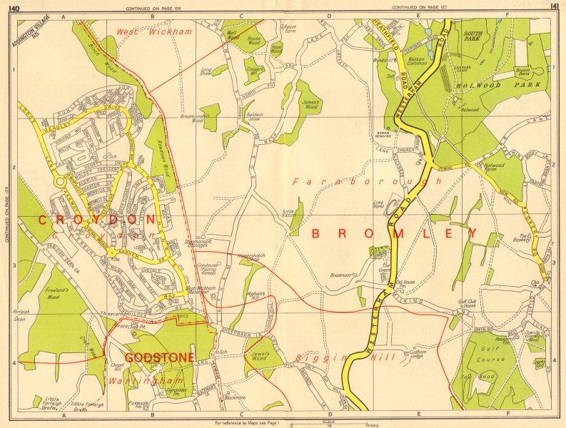 Associate Product NEW ADDINGTON Biggin Hill Holwood Park Farnborough. GEOGRAPHERS' A-Z 1964 map