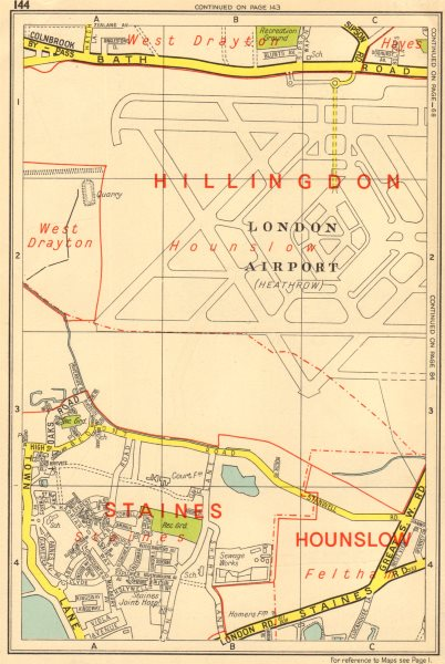 HEATHROW AIRPORT Staines Feltham Hayes West Drayton. GEOGRAPHERS A-Z 1964 map