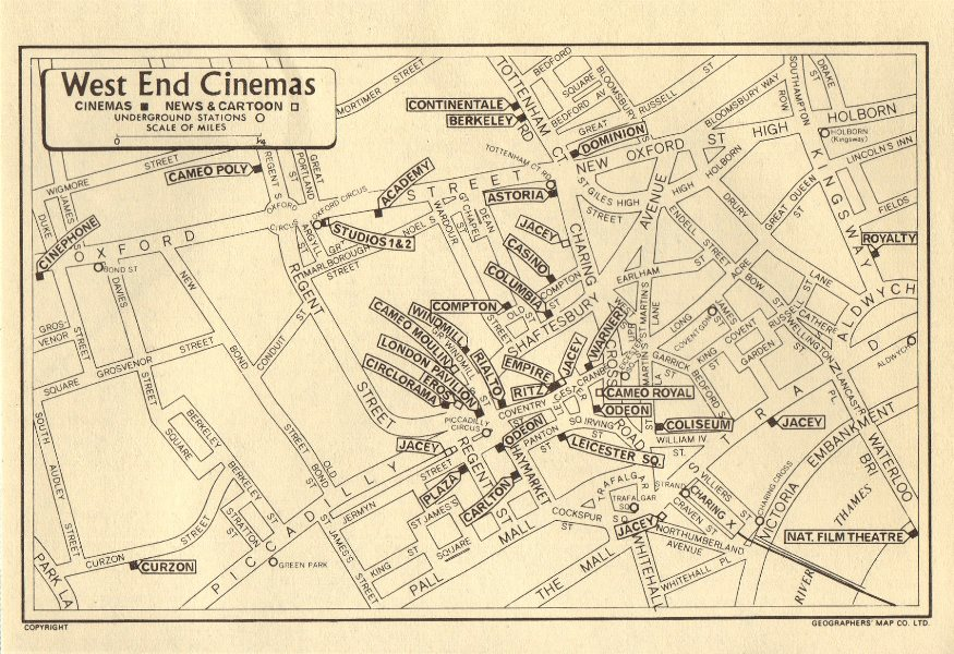 Associate Product LONDON West End Cinemas. News Cinemas (square). GEOGRAPHERS' A-Z 1964 old map
