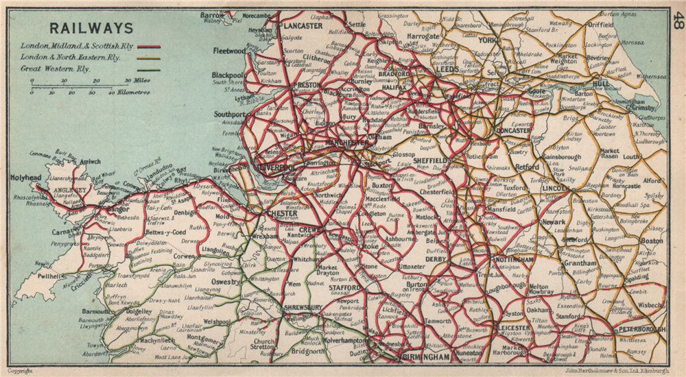 Associate Product NW ENGLAND RAILWAYS Great Western London & North Eastern LMS 1928 old map
