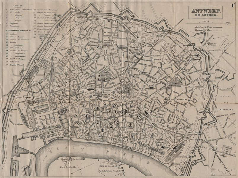 Associate Product ANTWERP ANVERS ANTWERPEN. Antique town plan. City map. Belgium. BRADSHAW 1895