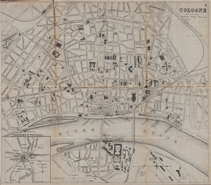 Associate Product COLOGNE KOLN KÖLN. Antique town plan. City map. Germany. BRADSHAW 1895 old