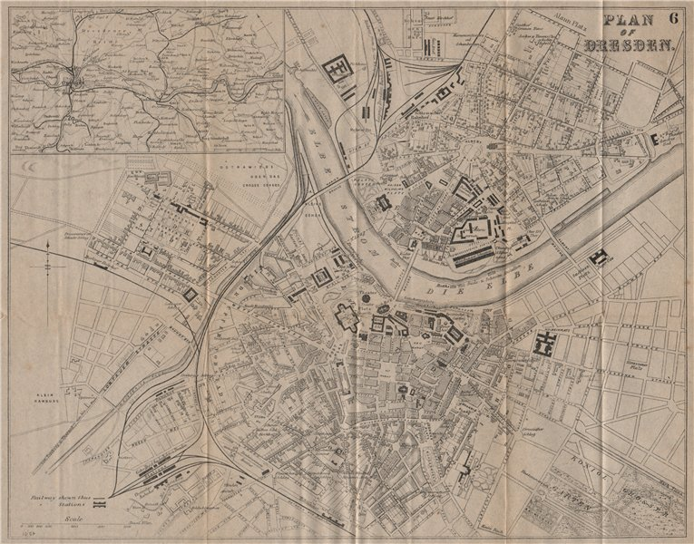 Associate Product DRESDEN. Antique town plan. City map. Germany. BRADSHAW 1895 old