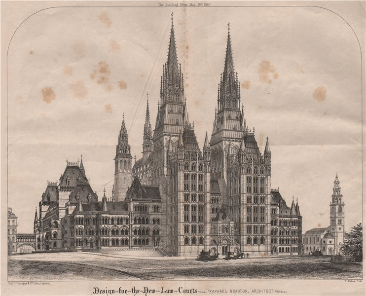Associate Product Design for the New Law Courts; Raphael Brandon, Architect. London 1867 print