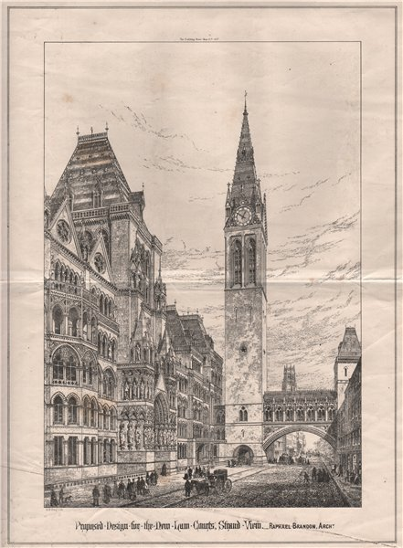 New Law Courts design, Strand view; Raphael Brandon, Architect 1867 old print