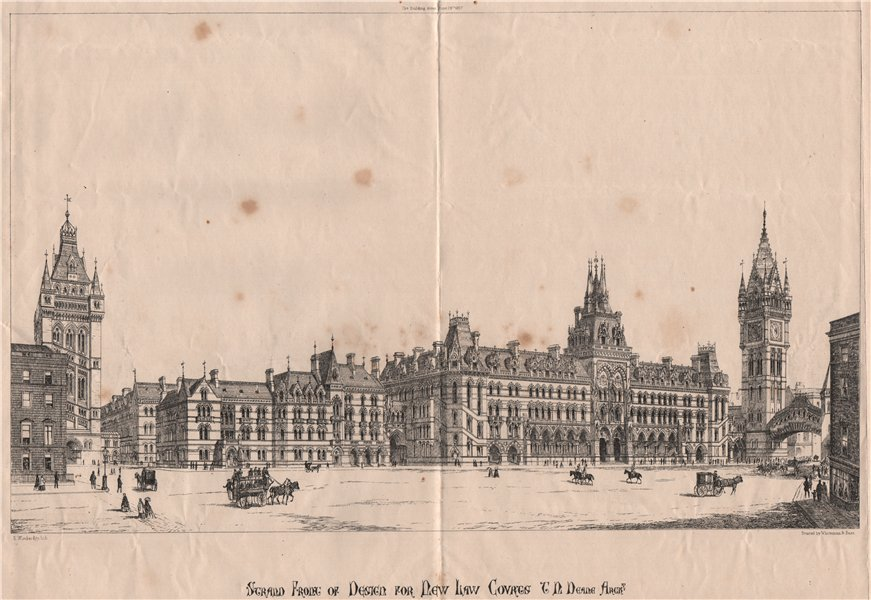 Associate Product Strand front of design for New Law Courts; T.N. Deane, Architect. London 1867