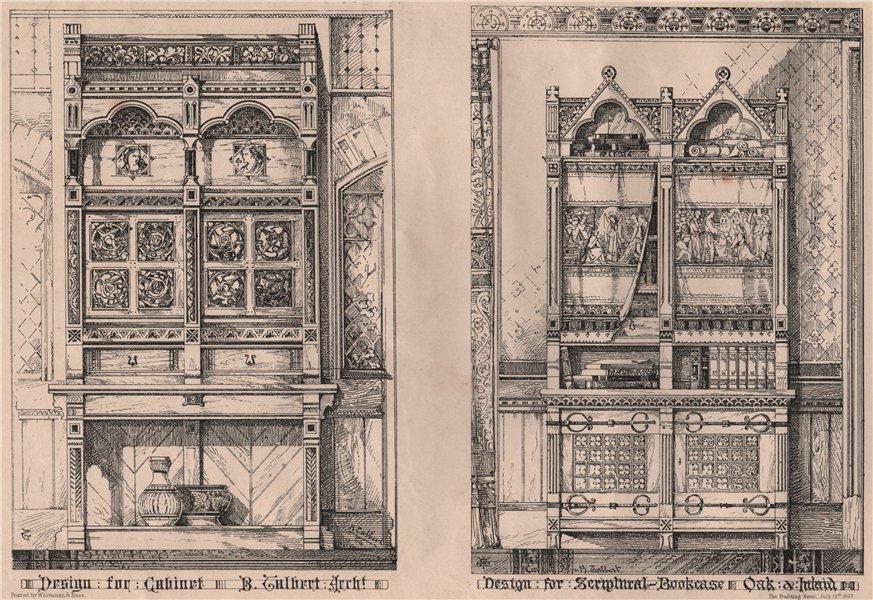 Associate Product Cabinet; Scriptural-Bookcase; Oak & Inlaid; B. Gilbert, Architect 1867 print