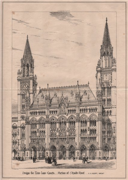 Associate Product Design for New Law Courts -  Portion of Strand Front; G.G. Scott, Archt 1867