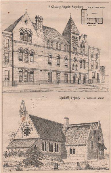 Associate Product St Clements Schools, Barnsbury. Llandaff Schools 1867 old antique print