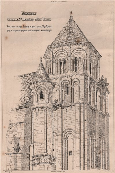 Associate Product Poitiers - Church of St. Radegund. West tower. Vienne 1867 old antique print