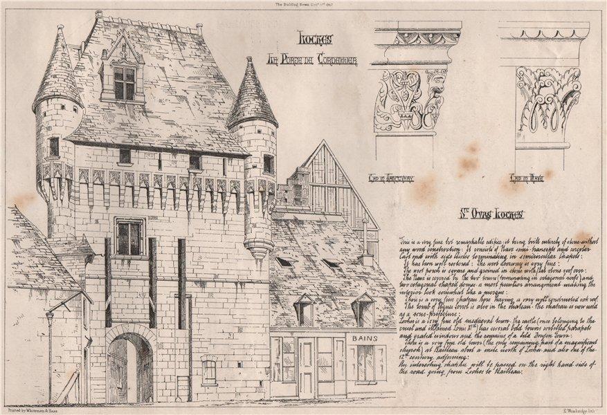 Associate Product Loches; La porte de Cortejar. Indre-et-Loire 1867 old antique print picture