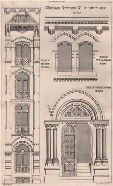 Associate Product Warehouse, Southwark St.; Mr. E. Bates Architect Details. London 1867 print