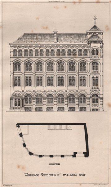 Associate Product Warehouse, Southwark St.; Mr. E. Bates, Architect . London 1867 old print