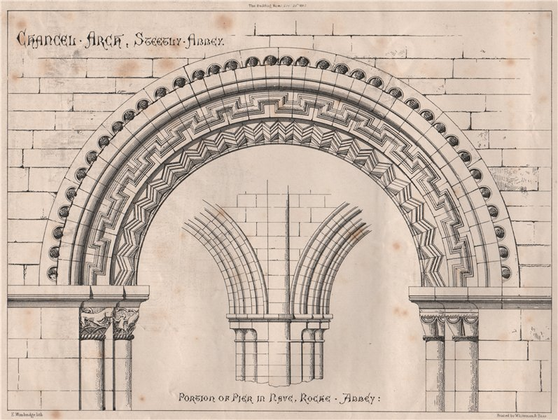 Associate Product Portion of pier in nave, Roche Abbey; Chancel Arch, Sleegly Abbey 1867 print