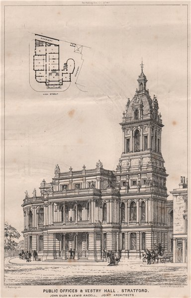 Associate Product Public offices & vestry hall, Stratford; Giles & Ancell, Architects 1867 print