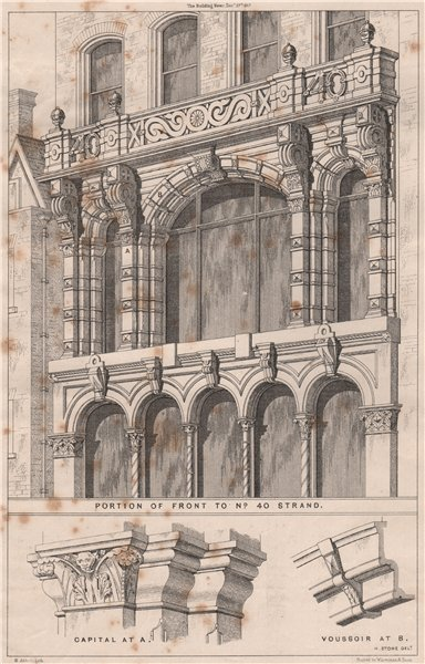 Portion of front to No. 40 Strand; Capital Voussoir; H. Stone 1867 old print
