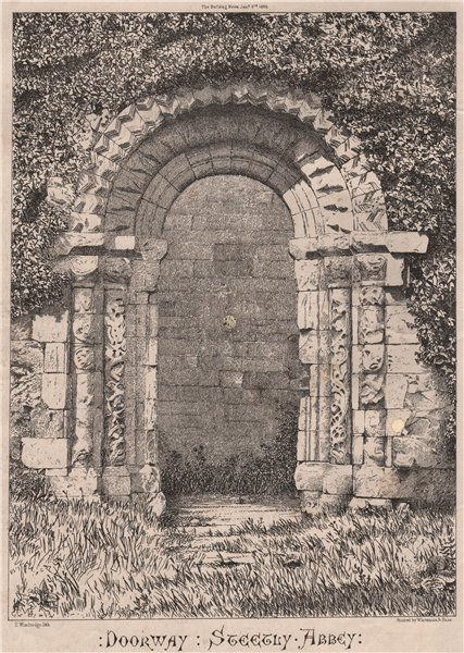 Associate Product Doorway, Steetly Abbey. Derbyshire 1868 old antique vintage print picture