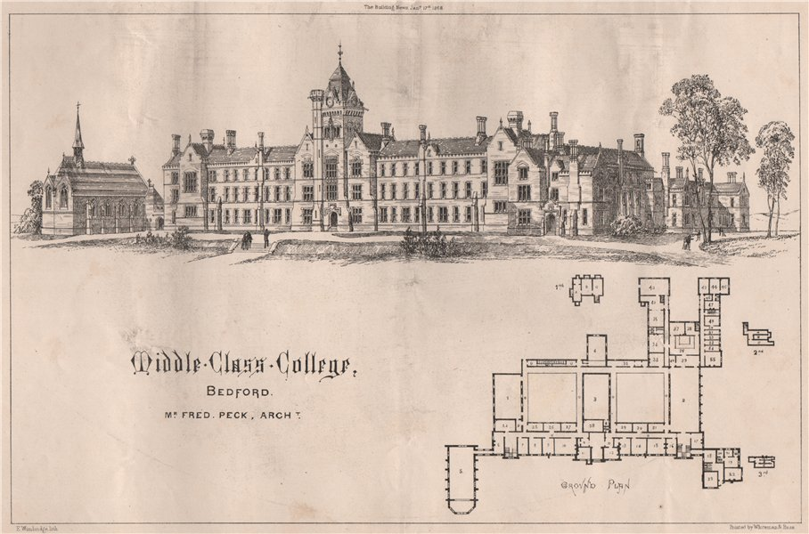 Associate Product Middle Class College, Bedford; Mr. Fred Peck, Architect. Bedfordshire 1868