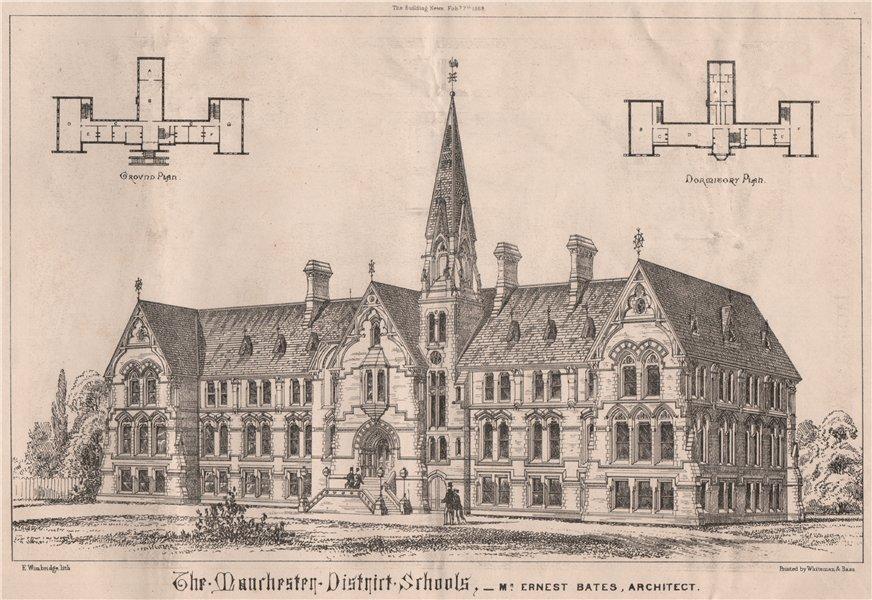 Associate Product The Manchester District Schools; Mr. Ernest Bates, Architect 1868 old print