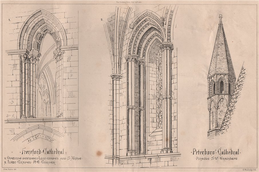 Associate Product Hereford Cathedral; Peterborough Cathedral. Herefordshire 1868 old print