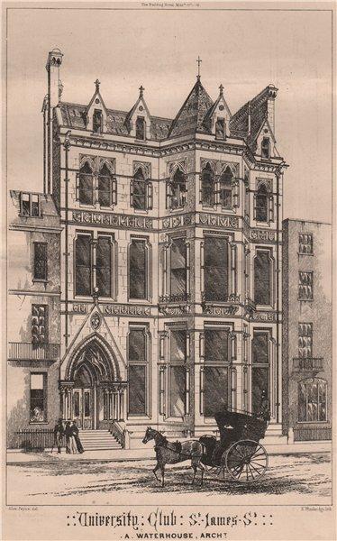 Associate Product University Club, St. James St; A Waterhouse, Architect. London 1868 old print