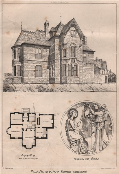 Associate Product Villa in Victoria Park, Sheffield; Hadfield & Son, Architects. Yorkshire 1868