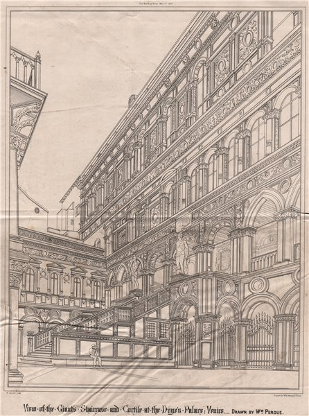 Associate Product Giant's Staircase & Cortile, Doge's Palace; Venice; by Wm. Perdue 1868 print