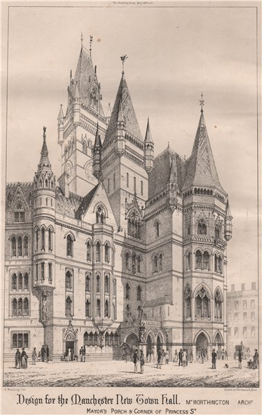 Manchester New Town Hall. Mayor's porch & corner of Princess St 1868 old print