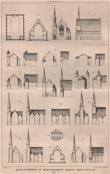Associate Product Developments of nonconformist church architecture No. 1. Churches 1868 print