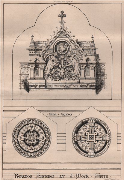 Associate Product Reredos sketches; by J. Moyr Smith. Decorative 1868 old antique print picture