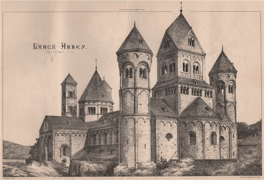 Laach Abbey. Rhineland-Palatinate 1868 old antique vintage print picture