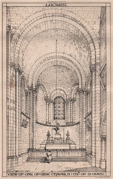 Associate Product Loches; view of one of side chapels; Chn of St. Ours. Indre-et-Loire 1868