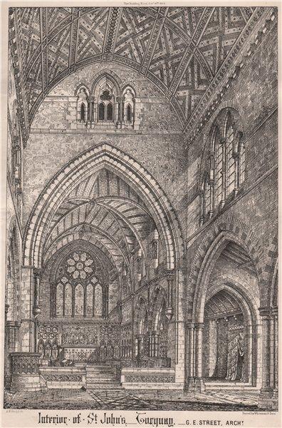 Interior at St. John's Torquay; G.E. Street, Architect. Devon 1868 old print