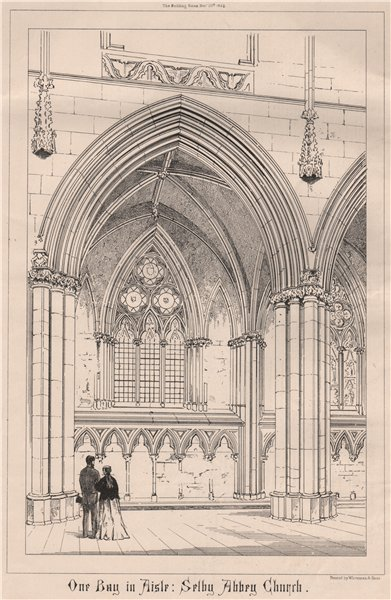 One bay in aisle, Selby Abbey Church. Yorkshire 1868 old antique print picture