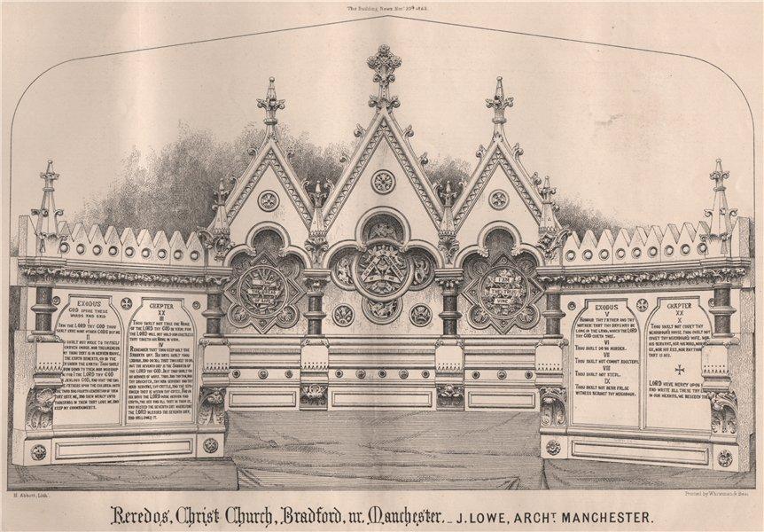Associate Product Reredos, Christ Church, Bradford, Manchester; J Lowe, Archt, Manchester 1868